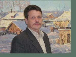 "Russian artist Victor Petrov in front of his painting ""Winter in Beloomut"""